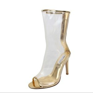 Shoes - Clear lucite peep toe mid calf stiletto heel boot